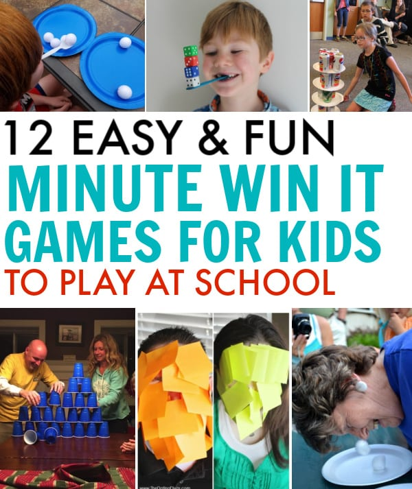 12 minute to win it games for kids at school. 12 Easy 60-second games if you're in charge of the class party, or a teacher looking for something fun to do!