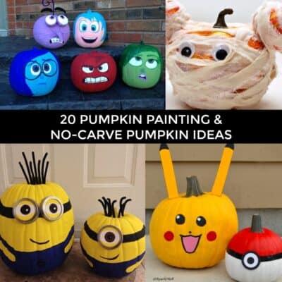 20 Pumpkin Painting Ideas and No Carve Pumpkin Ideas