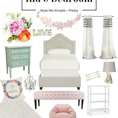 Beautiful girl's room with easy pieces to pull together. Great color palette to go with everything.