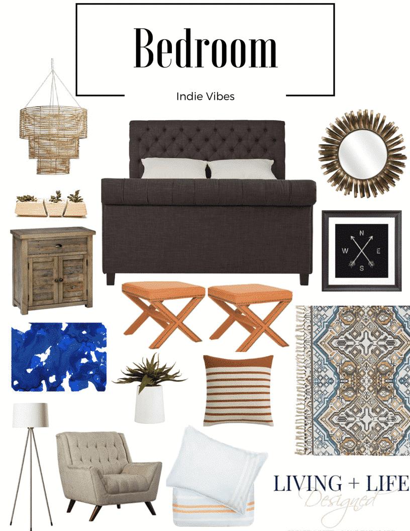 Bohemian indie inspired bedroom design for Indie bedroom designs
