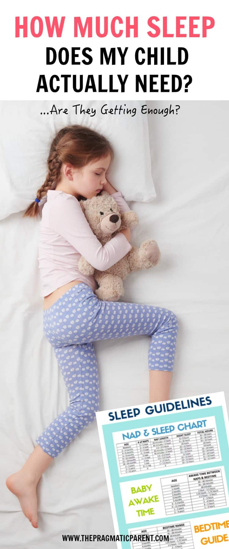 Sleep Guidelines and a Sleep, Bedtime, Nap and Hour Sleep Chart for Babies, Toddlers, Preschoolers and School Age Kids