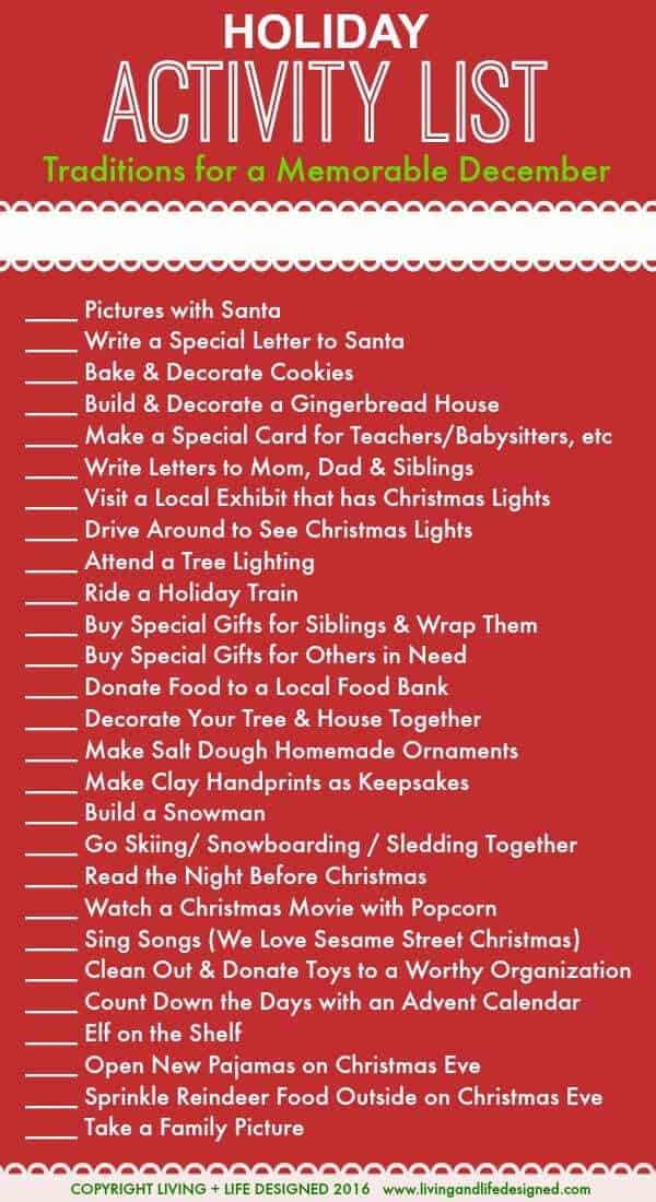 Holiday activities list for the month of december leading for Christmas decoration items list
