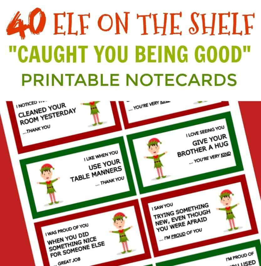 Elf on the shelf Printable Notecards. Elf on the Shelf Notes for Kids.
