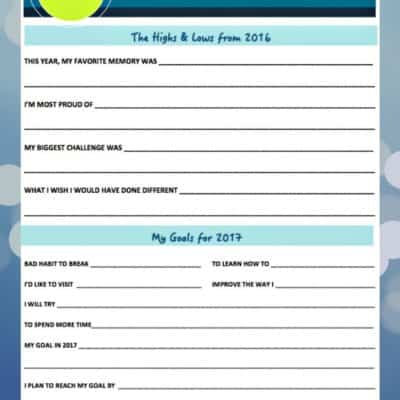 Look back at 2016 and record your memories & biggest challenges. Look ahead to the New Year and setting goals for 2017 Printable.