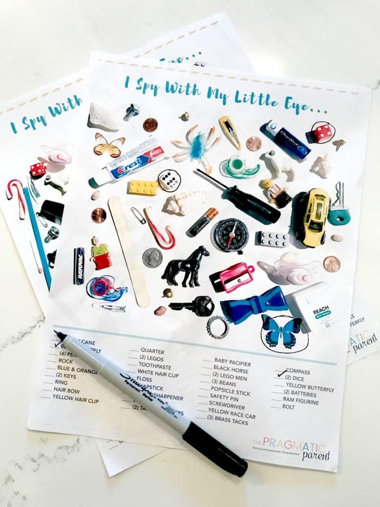 I Spy Printable Game Sheets for When You're on the Go, Waiting, Trying to Make Dinner or Your Kids are Playing Independently. These two printables are great to tuck in your purse or pull out when you're waiting at the doctor's office.