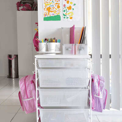 organize your child's backpack, school supplies, shoes and jackets with a dedicated backpack station. 9 backpack organization ideas for when you do't have a mudroom in your home.