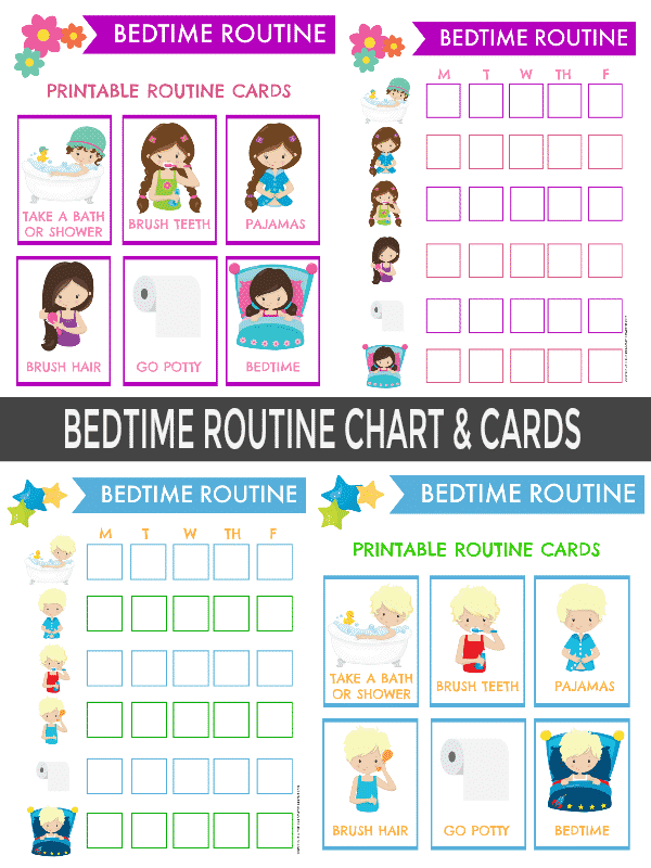 Children can follow a Consistent Bedtime Routine when they have the tools and visual cues such as with routine cards and a bedtime routine chart to help them remember all the steps for getting ready for bed.