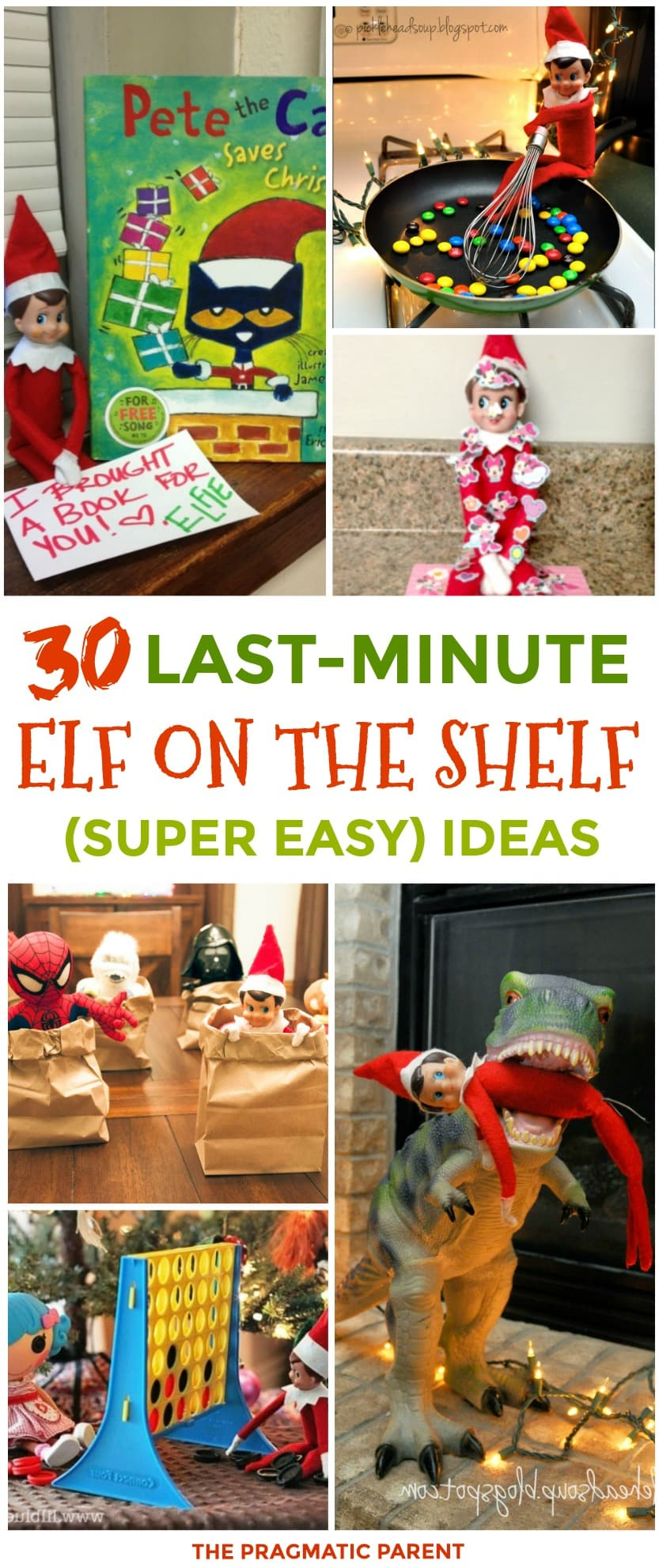 Need a last minute elf on the shelf idea? 30 Quick & Easy Elf on the Shelf Ideas to pull together in 5 minutes. Last-minute elf on the shelf ideas with supplies you already have around your house. #easyelfontheshelf #easyelfideas #easyelfontheshelfideas