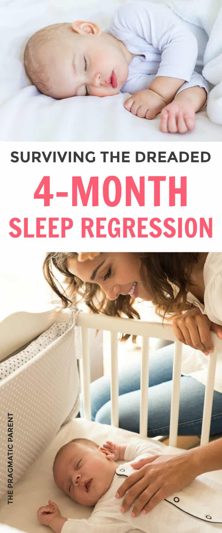 The 4 Month Sleep Regression is the first massive sleep struggle most babies will go through. Learn how to help your baby through the 4 month sleep regression, but also give her the tools to be a good sleeper and teach her how to fall asleep on her own. Overcome the 4 month sleep regression.
