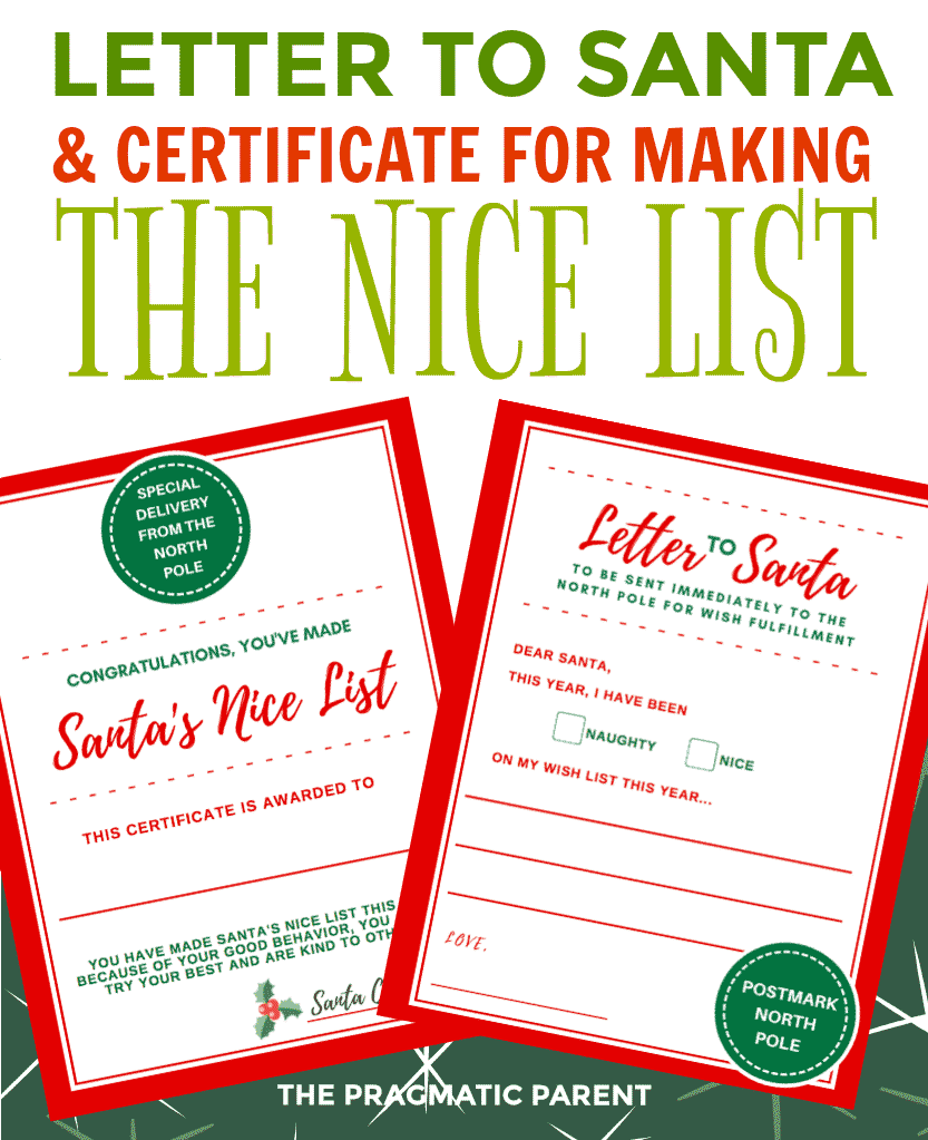 Letter to santa certificate for making santas nice list spiritdancerdesigns Image collections
