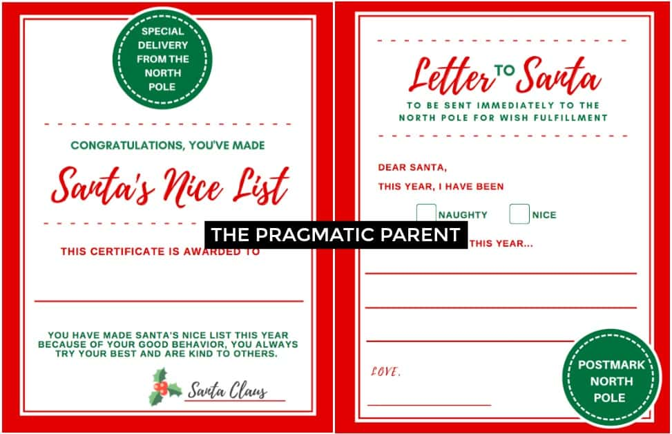 Send a special Letter to Santa. Have your child write a letter to santa with their wish list. What a special holiday tradition for kids to fill out and send. Give your kids a special certificate from the North Pole saying they've made the nice list this year because of their good behavior.
