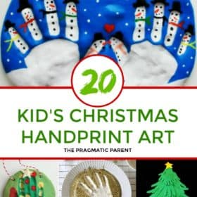 Christmas Handprint Art for kids to make. Christmas Handprint art makes the best homemade gifts and keepsakes you'll cherish. Kid's Christmas Handprint art. #christmashandprintart #handprintart #kidshandprintart #kidschristmashandprintart
