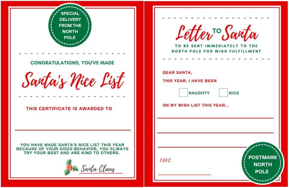 Letter to santa certificate for making santas nice list spiritdancerdesigns Choice Image