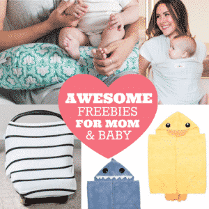 Free Baby Products for Mom and Freebies for Baby. Stock up on awesome baby essentials and new baby products you'll need and use. These baby essentials come in a variety of patterns including baby wrap, baby sling, baby carrier, carseat canopy or carseat cover, hooded towels, nursing pillow, pregnancy pillow and more.