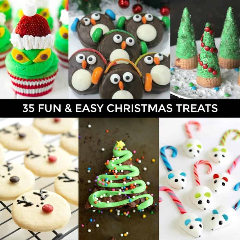 35 kid-friendly, fun and easy Christmas treats to make with your family. Delicious and fun Christmas treats to make for gifts or simply to enjoy at home.