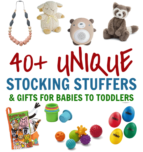 Looking for Christmas gifts for your baby or toddler? Is it baby's first christmas? 40+ unique stocking stuffers and gift ideas for babies and toddlers.