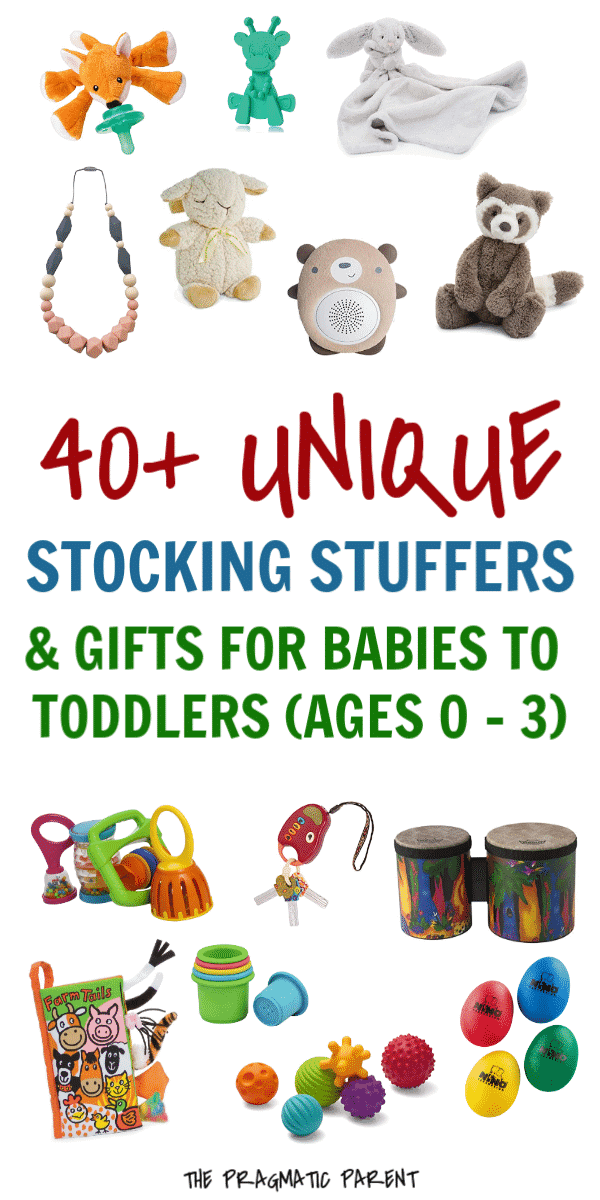 40+ Unique Stocking Stuffers & Gift Ideas For Babies to Toddlers (Ages 0 - 3). Looking for Christmas gifts for your baby or toddler? Is it baby's first christmas? 40+ unique stocking stuffers and gift ideas for babies and toddlers. #babys1stchristmas #christmasideasforbaby #giftsforbaby #christmasideasfortoddler #stockingstuffersforbabies #stockingstuffers #uniquestockingstuffers