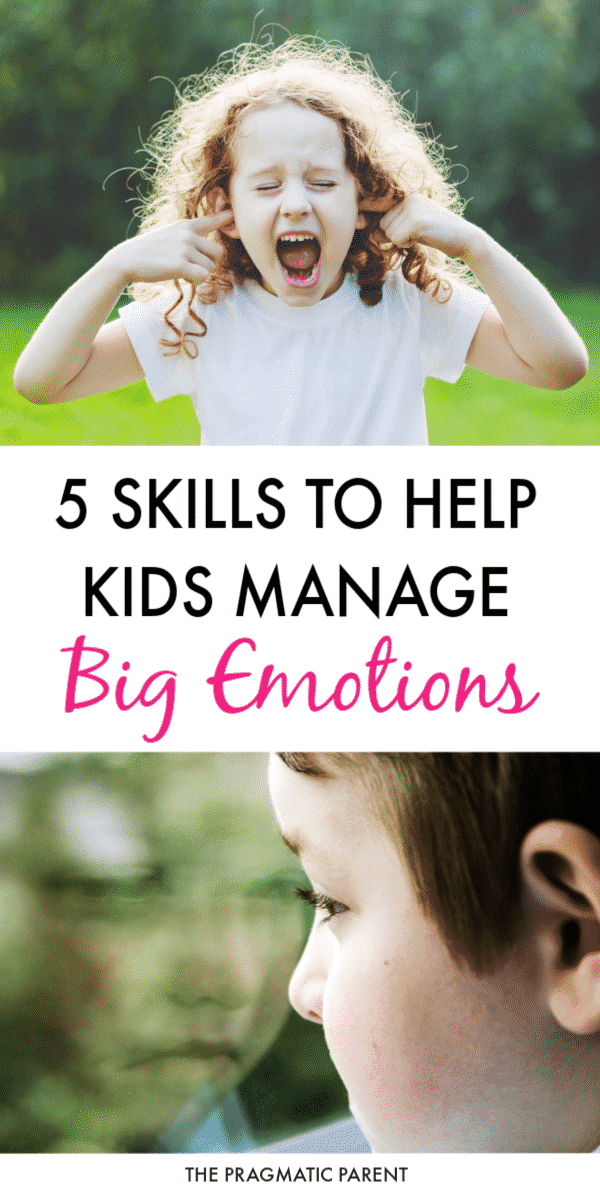 How parents can help kids learn to identify and manage big emotions. 5 Steps to teach children how to manage big emotions and deal with feelings. #managingbigemotions #bigemotions #helpingkidswithfeelings #helpkidswithemotions #positiveparenting #raisingkids #emotionalintelligence #positiveparentingtips