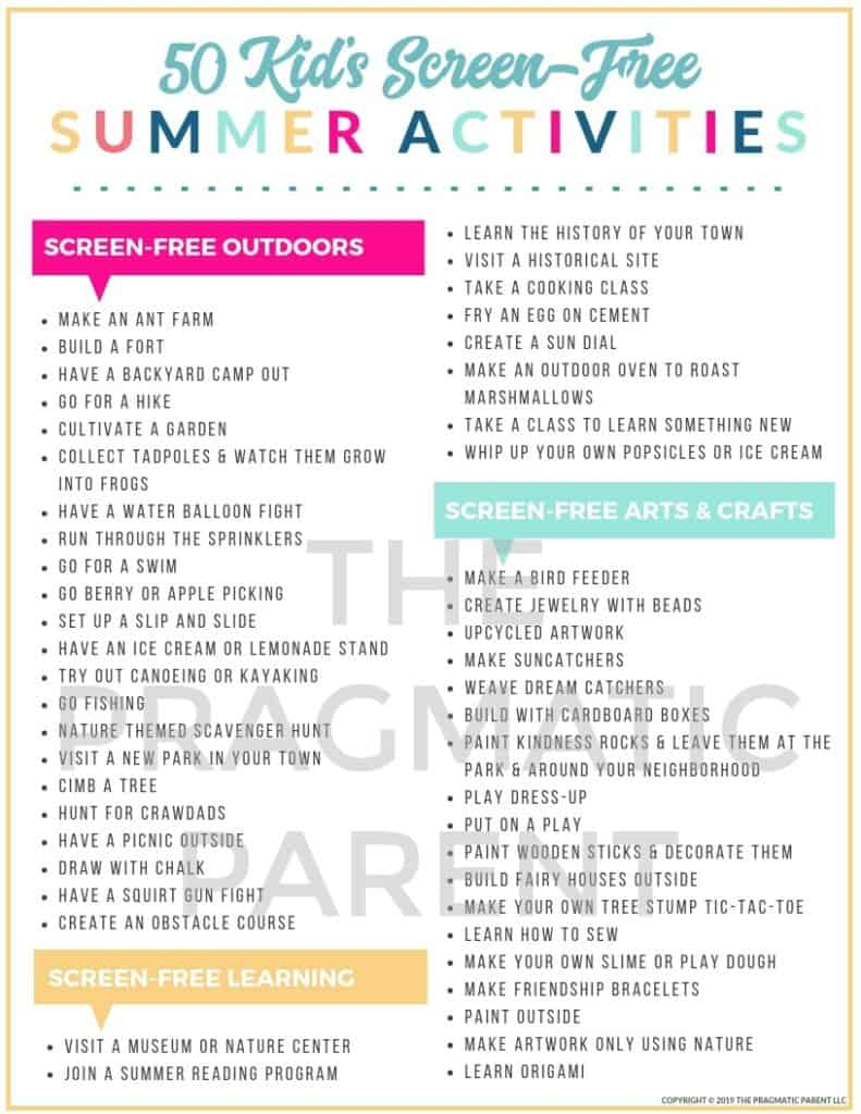 "50 Screen-Free Activities to keep kids occupied this Summer. Never hear, ""I'm Bored"" again with this fun and practical list of 50 Kid's Summer Activities."