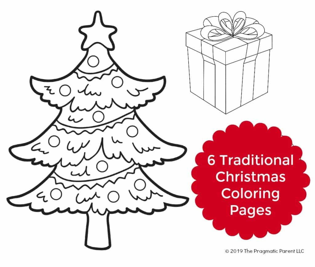 (Free PDF) 6 Traditional Christmas Coloring Pages for Kids including a Christmas Tree, Snow Glove, Gingerbread Man, Wreath, Santa's House, and Christmas Present.