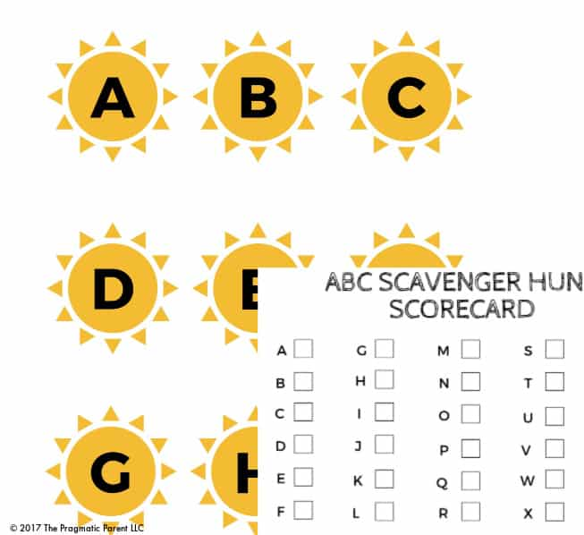 ABC Letter Recognition Scavenger Hunt Game For Preschoolers