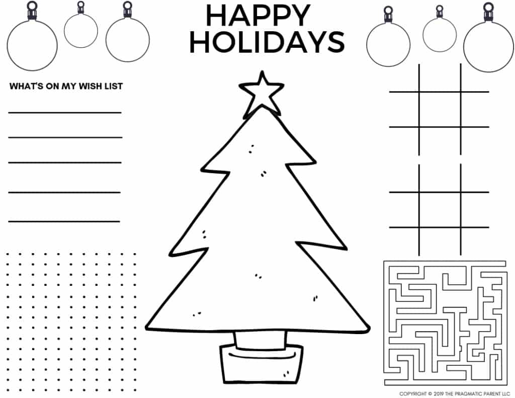 2020 cute printable christmas coloring pages christmas placemats cute printable christmas coloring pages