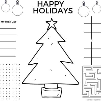 Cute Christmas Placemats and Printable Christmas Coloring Pages PDF to keep kids busy over the holidays.