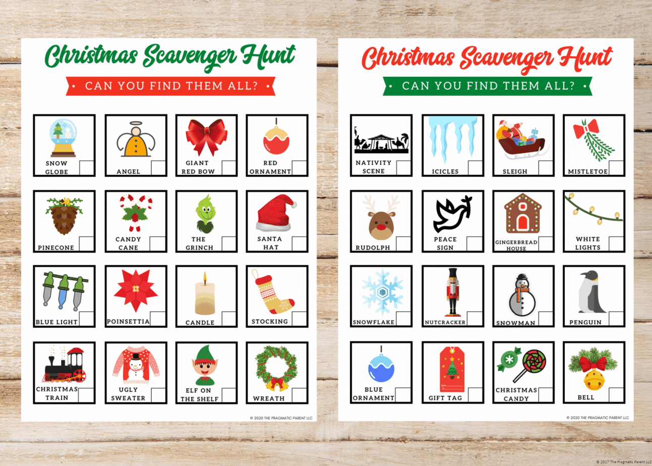 Free Printable Indoor Christmas Scavenger Hunt