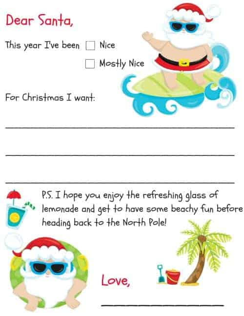 dear santa letter to santa beach