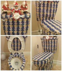 elf on the shelf wrapping paper toilet