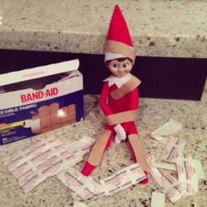 Elf on the Shelf got into the bandaids