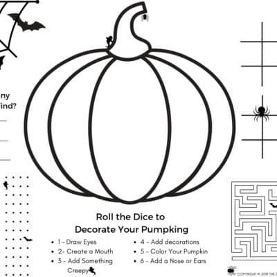 Cute (and Free) Halloween Activity Page & Halloween Coloring Page in PDF Format. Fun Halloween Games including Color Your Pumpkin game, counting games, maze, and more coloring page to keep little ones busy.