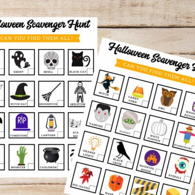 If you're looking for a fun activity for kids this October - these 2 colorful Halloween Scavenger Hunts are fun & easy entertainment for kids of all ages!