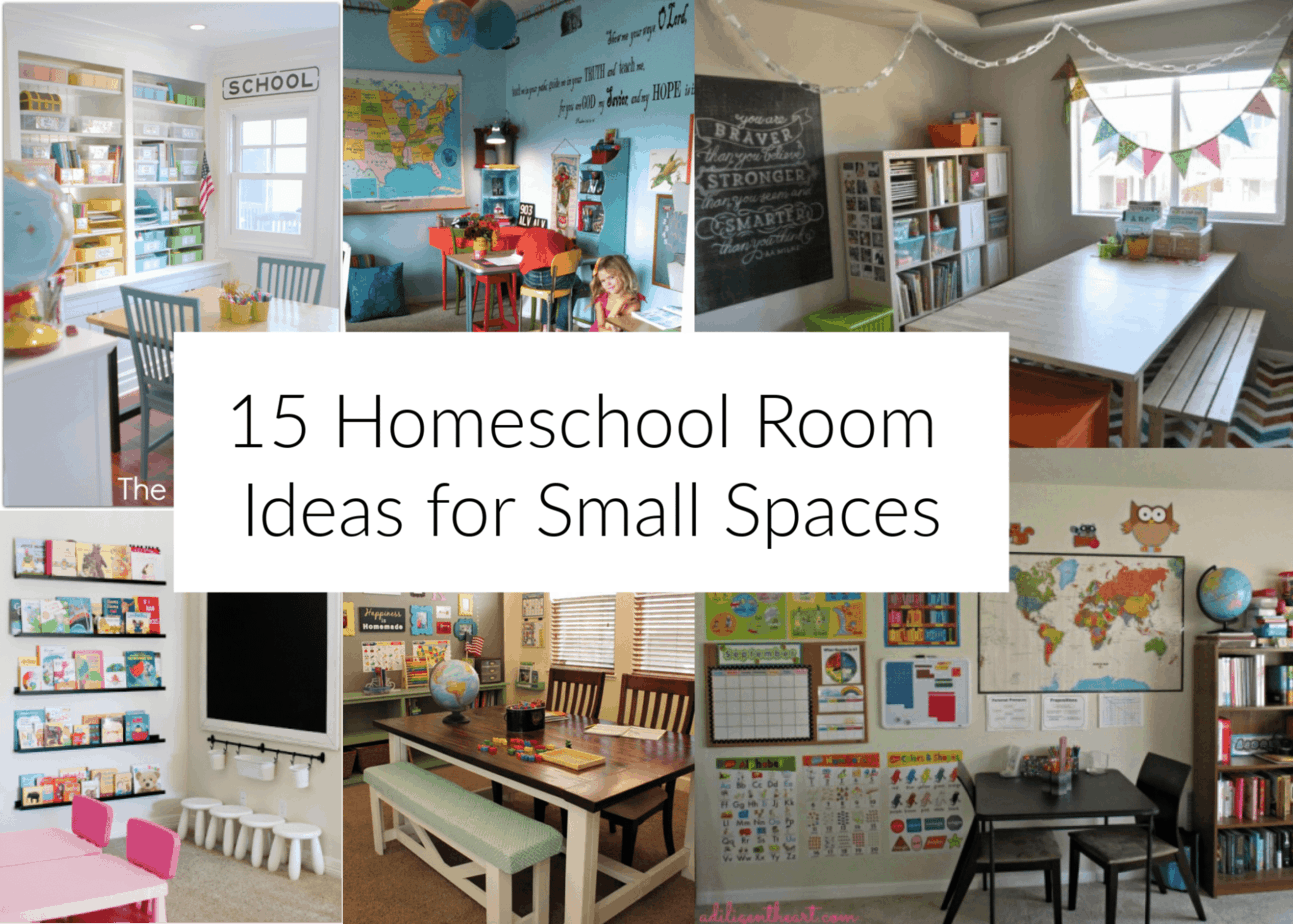 Setup your homeschool classroom, with a small room or a lot of space. Basics of a homeschool classroom & 15 small space homeschool setup ideas to inspire.