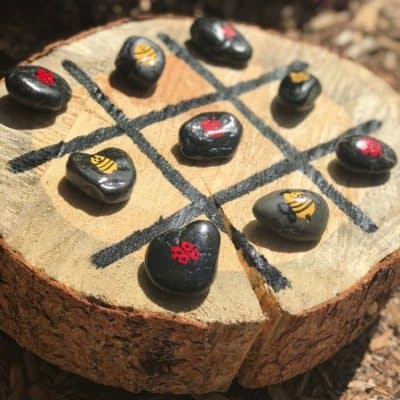 Tree Stump Tic Tac Toe a fun backyard game