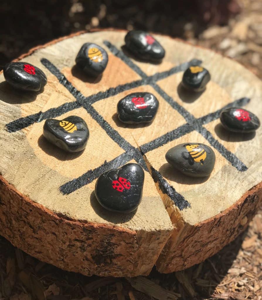 Tree Stump Tic Tac Toe a fun backyard game