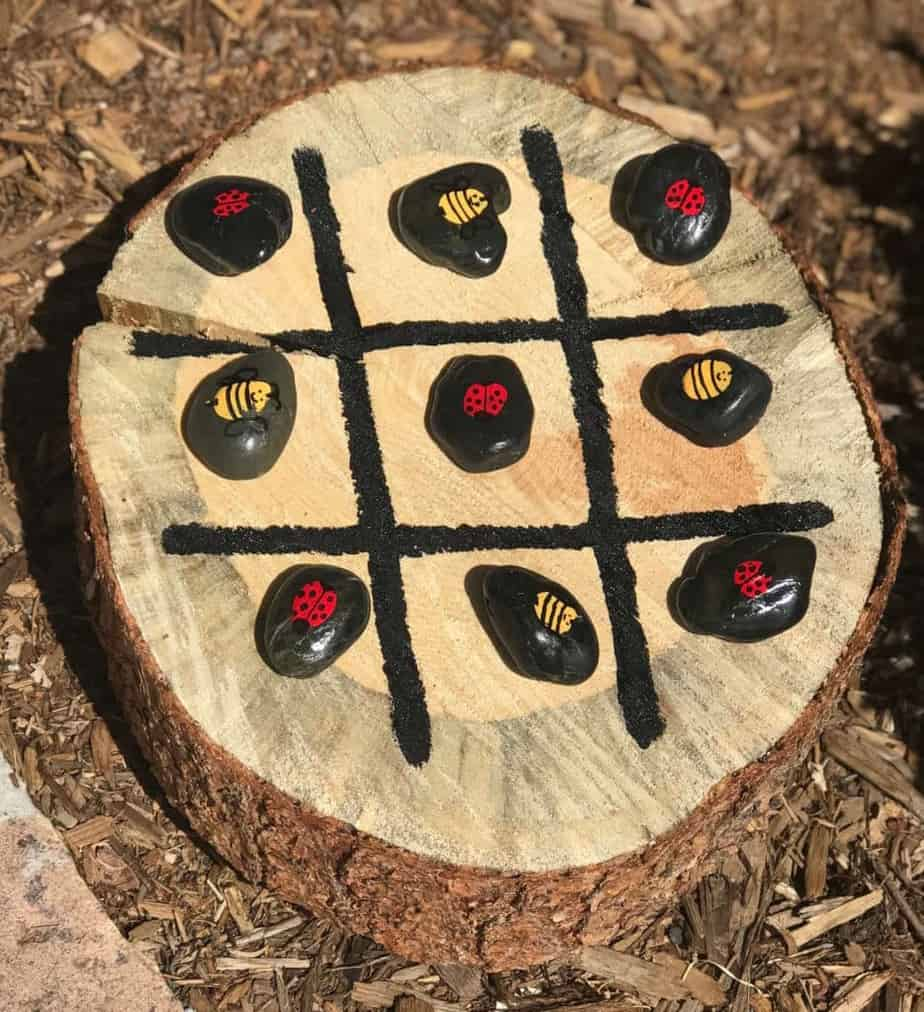 Tree Stump Tic Tac Toe is a fun backyard game the entire family will enjoy
