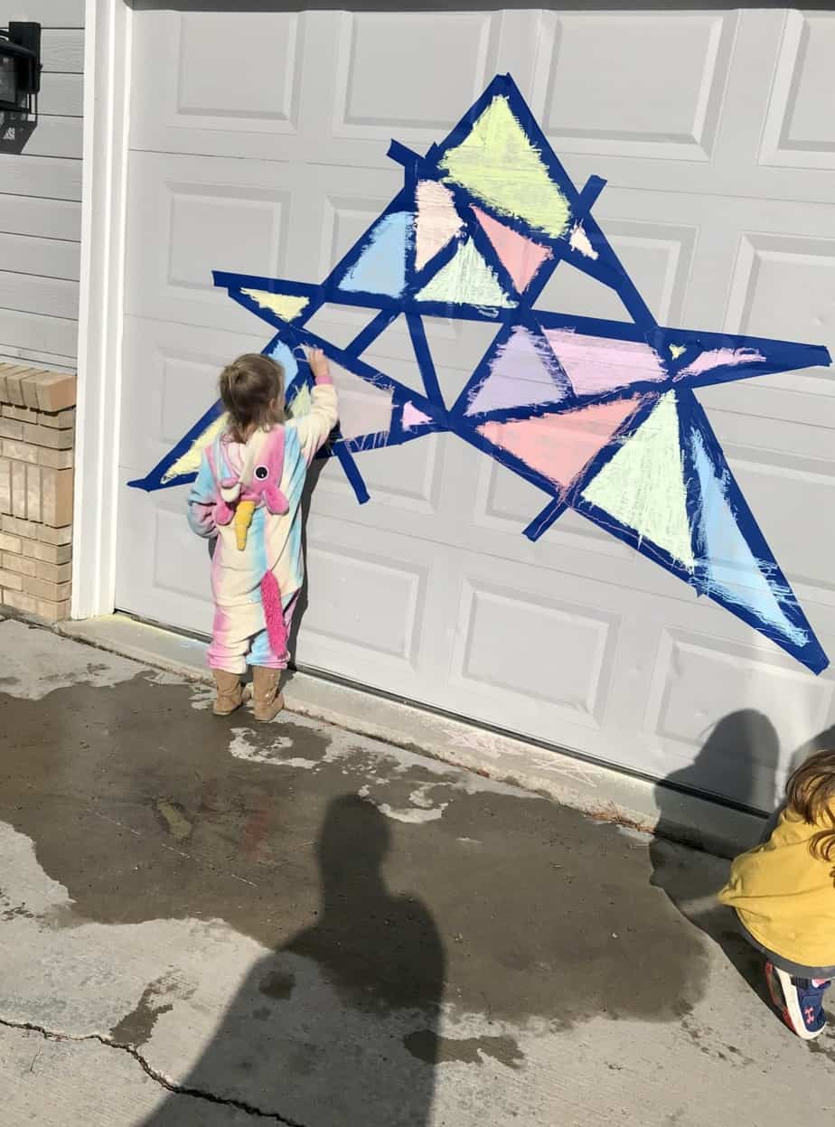 chalk art mosaic for kids