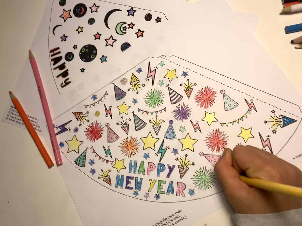 New Years Activity - Printable Coloring Party Hats