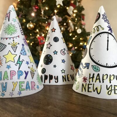 New Years Activity Kids Coloring Party Hats