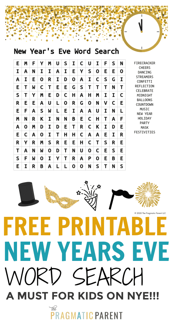 (Free Printable) New Years Kid's Activity Word Search