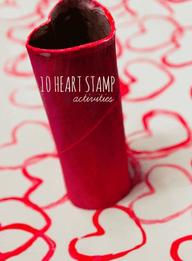 heart stamp for toddler valentines day craft