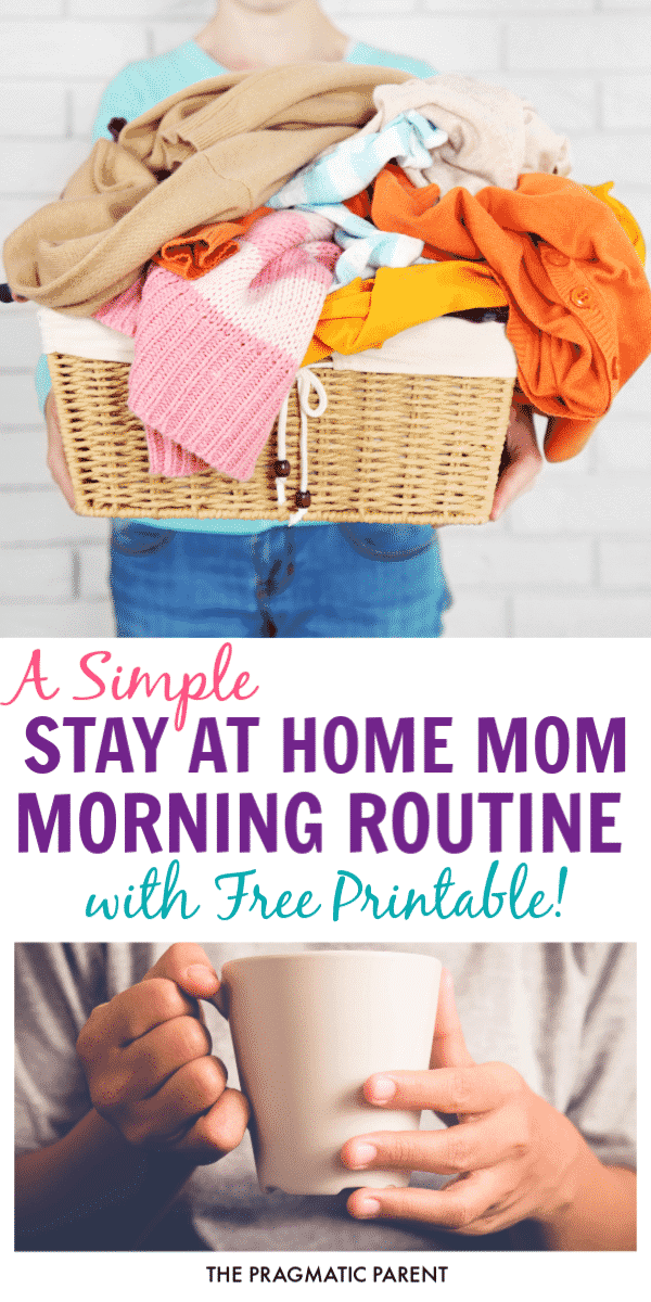 Makeover Your Mornings: A Simple Routine to be a Happy Mom. It's amazing how quickly you can change the flow of your days with a better routine that helps you be more productive, focus on the important tasks and give you more time to spend enjoying your kids. This simple Stay at Home Mom Routine will make the days flow better and you a happy Mom again.#stayathomemomroutine #stayathomemomschedule #samplestayathomemomroutine #sahm #momroutine #sahmroutine #routineformoms #routineforstayathomemom