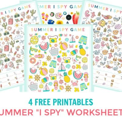 4 Printable I Spy Game Sheets themed for summer with fun graphics & bright colors. Printable I Spy game sheets are handy whether you're taking a road trip, have an upcoming flight, need quiet time, are at the Doctor's office, or want to try a new fun activity. Download and print these I Spy Printables and have fun!