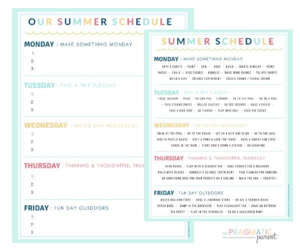Creating Summer Schedule for Kids