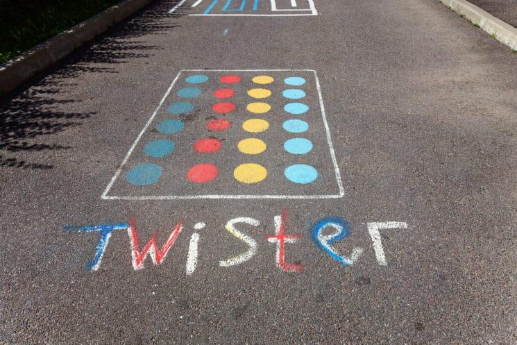 Twister game chalk art