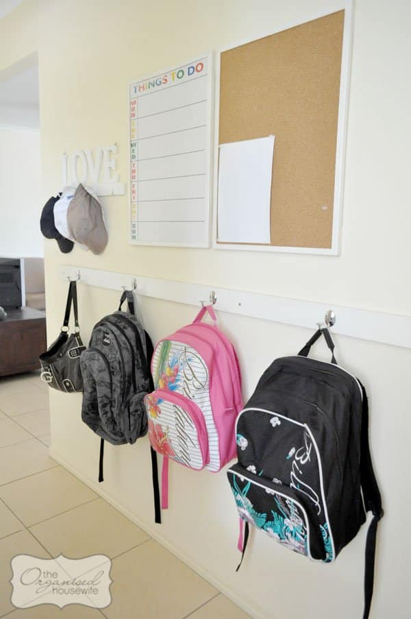 backpack organization and small storage solutions for backpacks and school gear drop zone