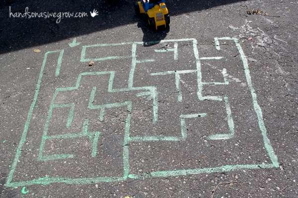 chalk art maze for kids