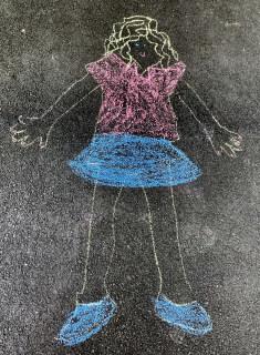 chalk art self portrait
