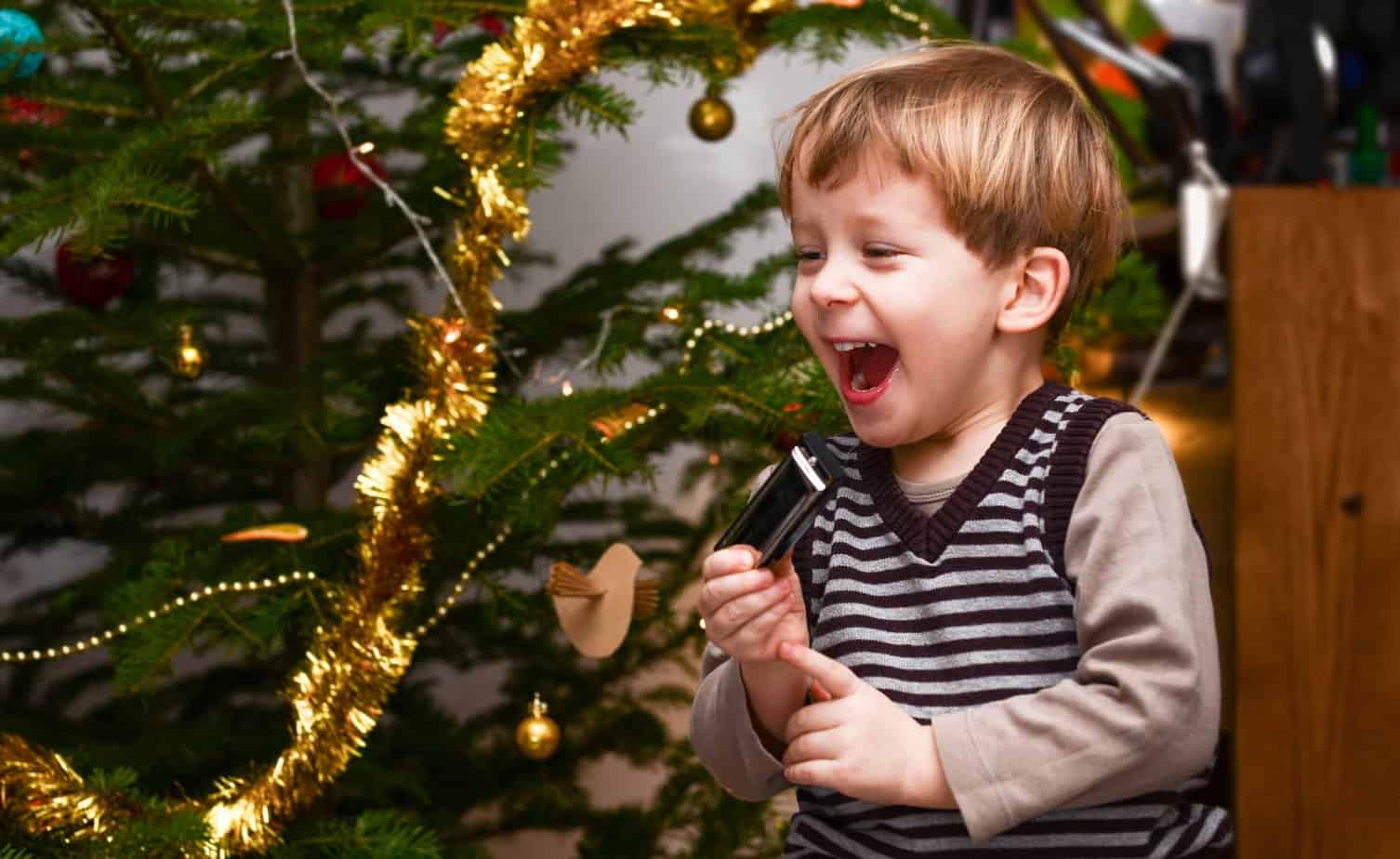 child excited for christmas scavenger hunt